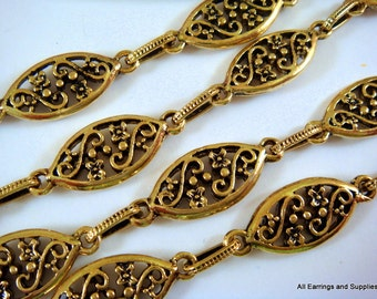 38in Antique Gold Chain Handmade Marquis and Ovals Textured Chain Not Soldered - 3 feet 2 inch - STR9052CH-AG38