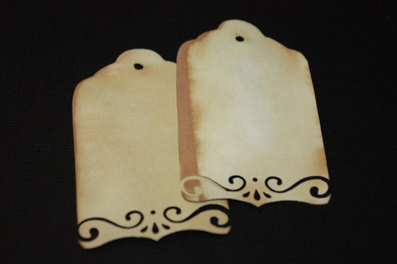 Tea Stained Tag with DIE CUT  Edge set of 50 Tags