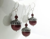 Winter Wedding Jewelry Set - Acorn Necklace and Earrings with Bordeaux Swarovski Pearls - Sterling Silver - Bridesmaid Jewelry Set Burgundy