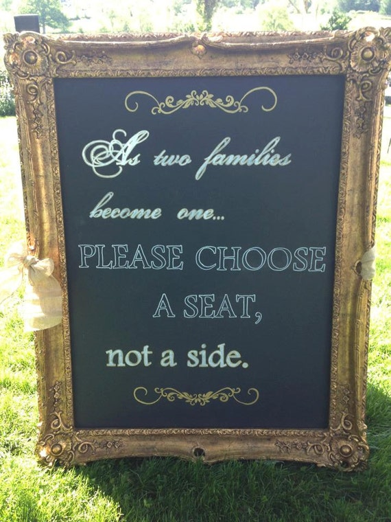 Wedding Sign Ceremony Seating Choose A Seat By SheComesFromBoston