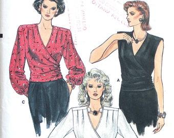 UNCUT Wrap Blouse Bust 36 Vintage Sewing Pattern