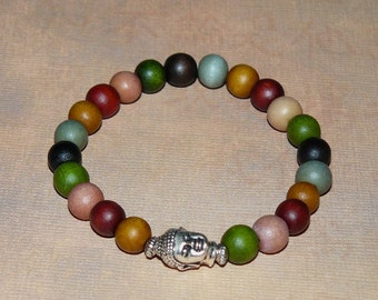 Tibetan Buddha/Buddhism 27 Count Multi Color Wood Silver (Mala) Unisex Bracelet