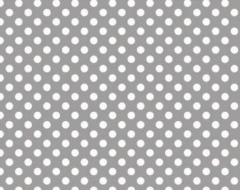 Riley Blake Medium Dot Gray Fabric, 1 yard