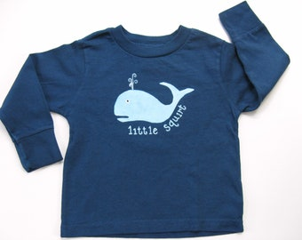 Whale T Shirt, Little Squirt, Nautical Theme Birthday Party, Hand Painted, Tee or Top, Navy Blue, Long Sleeve For Baby or Toddler