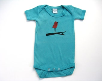 Baby Girls Bird  Bodysuit, Hand Dyed and Painted, Bird on a Branch, Red Bird One Piece, Shower Gift, Size 3 Month, Snap Crotch Infant Tshirt