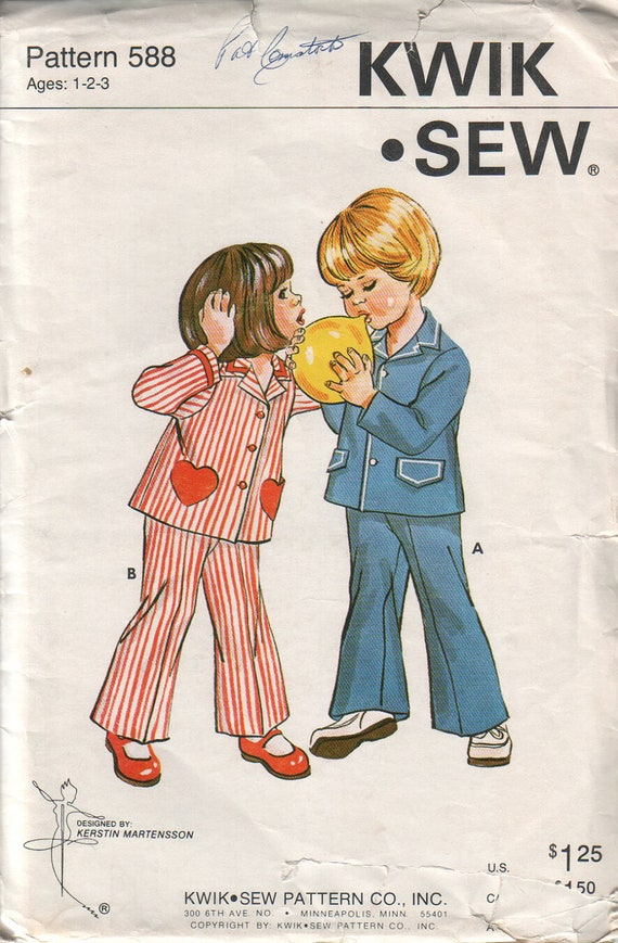 SALE kwik sew 588, vintage 70s children's shirt or jacket pattern, toddler sizes 1-2-3 FREE SHIPPING to canada and usa