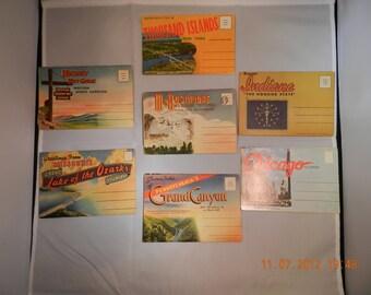 Souvenir Folder Travel Post Cards Unused from PA, Missouri, New York, South Dakota, Chicago and NC