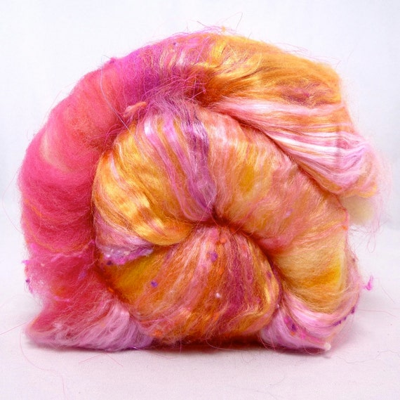 Deluxe Smooth Drum Carded Batt for Spinning and Felting- Siren Song