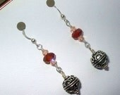Carnelian Gemstones, Swarovski crystals, Sterling Silver Earrings