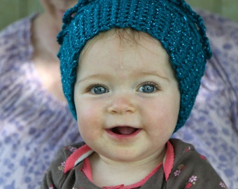 Medium Blue Crocheted Baby Hat Cap Winter Girl Free Shipping in the US