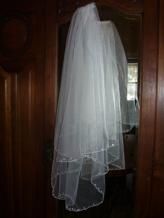 "2t ivory 27"" Drop veil wedding bridal silver edge with hand beading rhinestones pearls ready to ship OOAK"