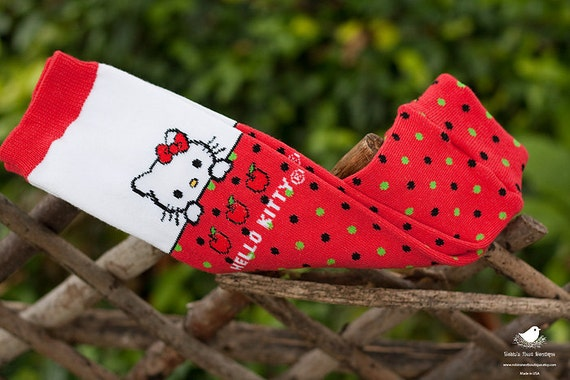 Tot Leggings-Red Hello Kitty Polka Dot and Apples-Leg Warmers/Arm Warmers, Holiday, Spring, or Photography Prop