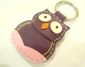 Leather Keychain - Fiona the Owl leather charm ( Purple )