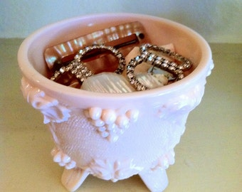 Pink Milk Glass Footed Grape Adorned Bowl Jeanette Glass