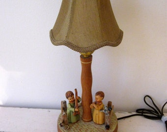 Anri Nursery Lamp Hand Carved and Painted with Reuge Music Box Rare