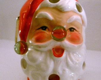 Vintage INARCO JAPAN Hanging Santa Christmas Candle Holder Lantern