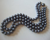 1980's Silver Colored Glass Pearl Double Strand Necklace