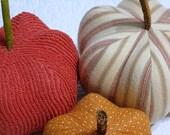 fabric pumpkins - warm and fuzzy - set of 3 p U m P k I nS