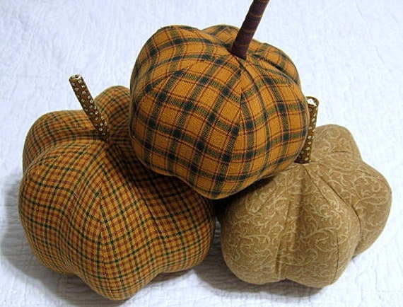 fabric pumpkins - Mr. Tan Man - set of 3 p U m P k I nS