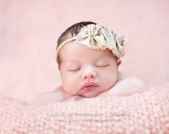 Ruffled Delilah - Vintage Inspired Floral Head Wrap - Raw Fray - Yarn Tieback Halo - Baby Infant Newborn Girls Adults - Photo Prop