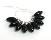 Black Glass 16mm x 8mm Oval Bead, Gunmetal  Balled Head Pins Wrapped Dangles, Set of 9, 1001-25