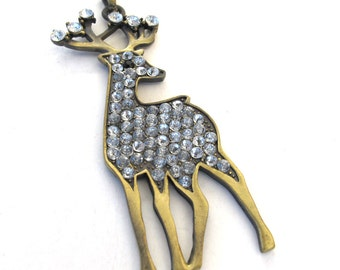 Antuqued Brass, Crystals, 80mm x 30mm Deer Pendant, 1006-23