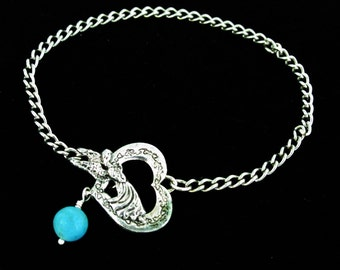 Silver Metal Chain Bracelet with Heart Toggle Clasp and 8mm Turquoise Dangle is ready for  Dangles or Charms, A087-B