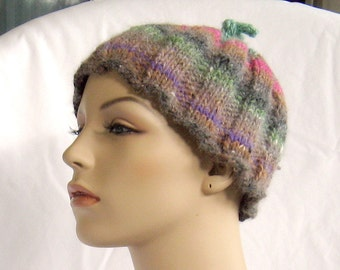 Knit Hat, striped, wool, knot on top, soft, F, accessories