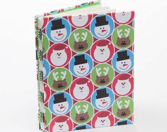 Santas, snowmen small journal, notebook, blank, christmas scrapbook