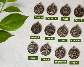 12pcs 18x18mm antique bronze horoscope charms pendants (J445)