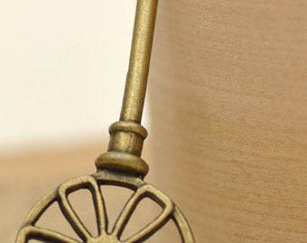2pcs 21x63.5mm antique bronze key charms pendants (J336)
