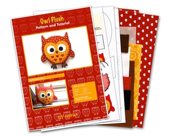 Cotton owl sewing kit - sew a cute owl plush
