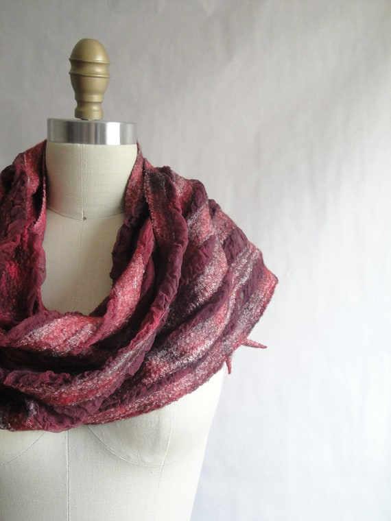 Red Nuno Felted Scarf Hand Dyed Wool Silk Bamboo Fiber Art OOAK from Light and Airy Collection - Wild Berry