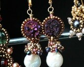 druzy earrings - Purple Druzy and lovely white coin pearl beaded gemstone earrings-crystals and seedbead with  gold earrings - Empress
