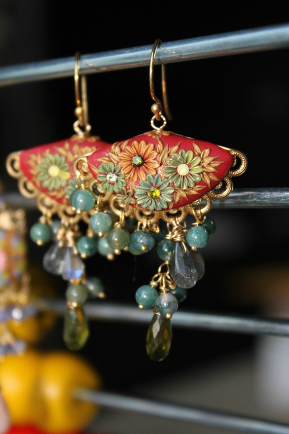 Labradorite and Olive Vesuvianite with brass filigree and moss agate , floral clay detailed earrings in goldfill and vermeil -  Early Autumn