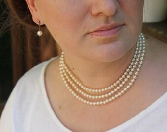 Unique three strand pearl necklace  4321