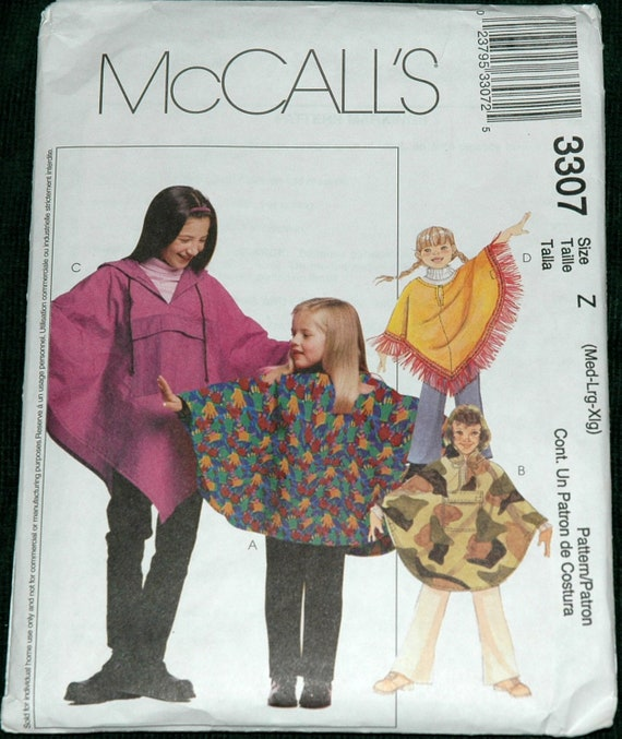 McCalls 3307 Sz M L XL Childrens Poncho and Pull-on Pants UNCUT