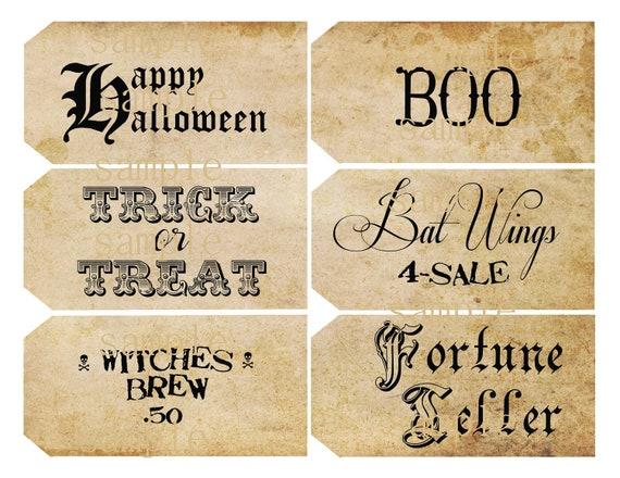 Instant Download Halloween Sayings Hang Tags Printable