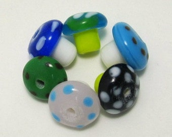 Lampwork Mushroom Beads Assorted Colors - Set of Three