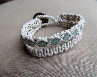 Aventurine Hemp Macrame Double Cuff Bracelet - Natural Hippie