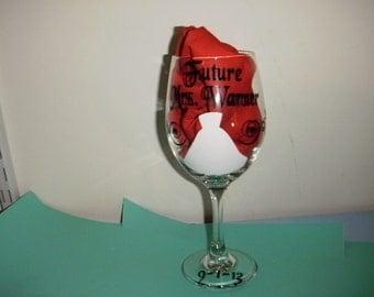 Future Mrs. Wine Glass with swirls and dress