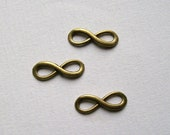 10 Antique Bronze tone Infinity Connectors Charms 23 x 8 mm