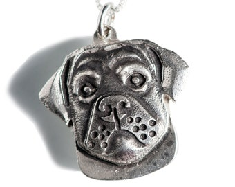 Rottweiler Necklace Jewelry Sterling Silver Dog Pendant Personalized