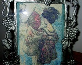 Japanese Lady with Fan, Oriental, Photo Stitch, Machine Embroidery, Free Shipping