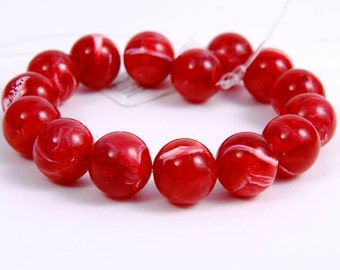Craft supplies, Red  White Vintage Italian Lucite Swirl Marbled Round Beads  - 15 pieces