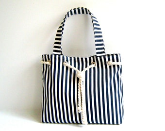 Sailor Tote Bag , navy blue and white striped, with cotton rope accessory, christmas, market tote, stripe tote bag, navy white, shoulder bag