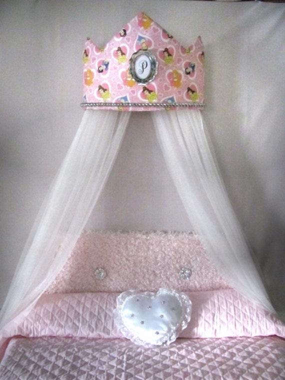 Tiara Crown Disney Princess Crib Canopy Crown Bed White Sheers