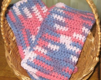 Crochet Cotton Variegated Dishcloth Set of Two