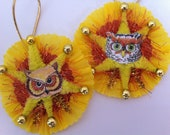 Halloween OWLS w/yellow vintage style chenille ORNAMENTS set of 2 round medallions