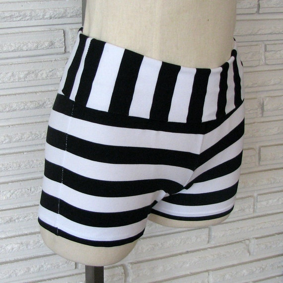 Black and White Stripe Shorts Dance Shorts Size Small Ready